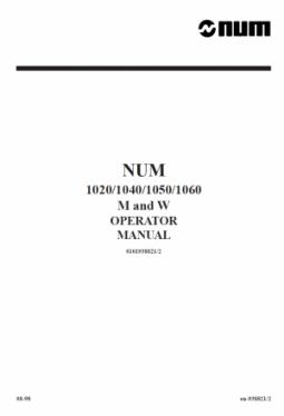 NUM CNC Operator Manual M/W