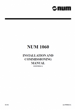 NUM 1060 - Installation and Commissioning Manual