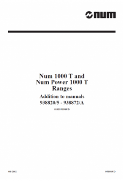 Addition to programming manuals T/G and supplementary